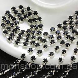 Стразовая цепь 50 см Цвет оправы - серебро, цвет камней - чёрный