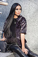 Женский искусственный норковый полушубок графит с рукавом 3/4 pg719777