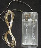 """Светодиодная гирлянда нить на 20 Led """"Капли росы"""" 2 м на батарейках белая теплая / Светящаяся проволока, фото 3"""