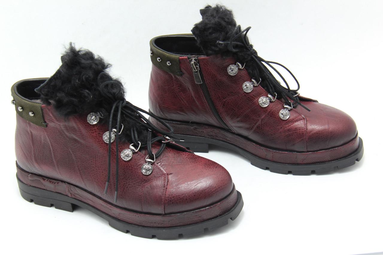 Зимние кожаные ботинки Meldymoor 9006-bordo