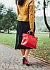 Кожаная сумка модель 23 красный флотар, фото 2