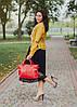 Кожаная сумка модель 23 красный флотар, фото 4