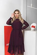 Женское шифоновое платье ниже колен на поясе /разные цвета, 42-56, LL-035/, фото 2