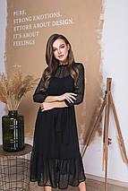 Женское шифоновое платье ниже колен на поясе /разные цвета, 42-56, LL-035/, фото 3