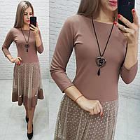 Платье нарядное, креп+сетка, арт.146, цвет - кофе с молоком