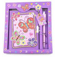 """Блокнот с замком для девочек """"Бабочки"""" фиолетовый (2 ключа)(19,5х17,5х2 см) ( 32944C)"""