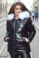 Женская зимняя качественная лаковая куртка с капюшоном С, М +большие размеры, фото 1