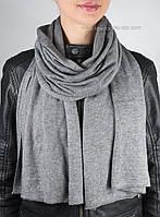 Серый вязаный женский палантин S-10
