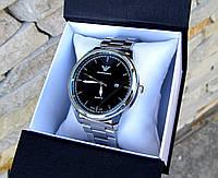 Мужские наручные часы в стиле Armani серебристые. Наручные кварцевые часы из стали. Годинник чоловічий срібло