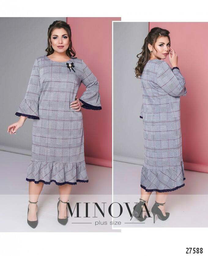 """Нарядное женское платье с итальянским кружевом на рукавах и по низу ткань """"Трикотаж"""" 52 размер"""
