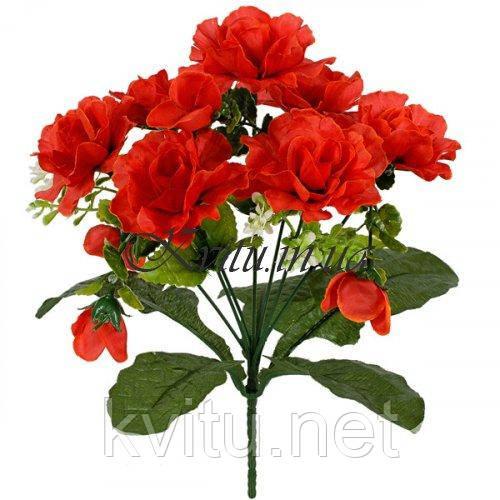 Искусственные цветы букет розочка с детками на подкустнике, 30см