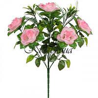 Искусственные цветы букет розы с пышной зеленью, 47см