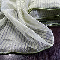 Тюль вуаль в полоску светло оливкового цвета. Ткань для тюля на отрез
