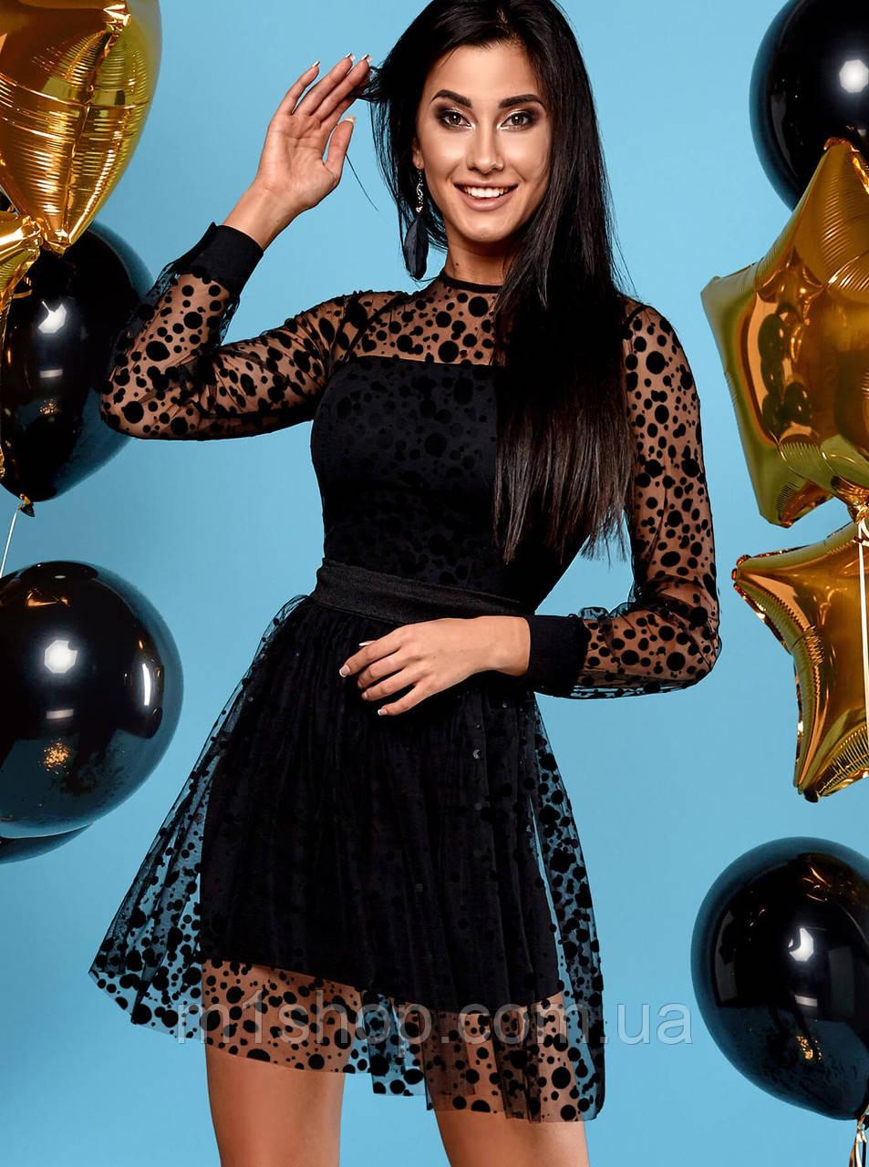 Женское черное короткое платье из сетки (Асель jd)