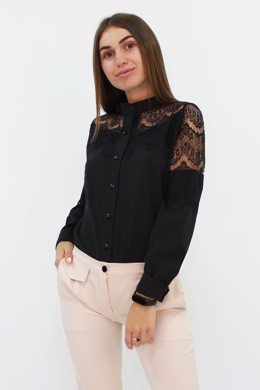 S, M, L, XL / Романтична жіноча блузка з мереживом, чорний