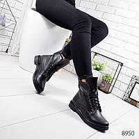 Женские высокие черные зимние ботинки из натуральной кожи на шнуровке с молнией по канту 40 р