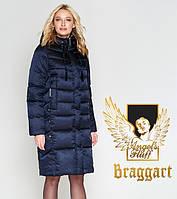 Женский удлиненный зимний воздуховик темно-синий Braggart Angel's Fluff ts29775