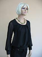 Женская черная блуза  с длинным рукавом из трикотажа и шифона