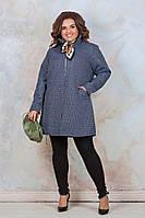 Стильное короткое демисезонное пальто-кардиган батал из плотной ткани на тонком меху р.56-60 . Арт -1032/11, фото 1