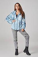 Женская куртка-ветровка на кулисе Голубая Большие размеры