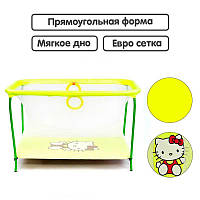 "Гр Манеж евро №10 ЛЮКС ""Hello Kitty"" - цвет жёлтый (1) прямоугольный, мягкое дно, евро сетка"