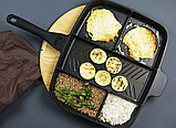 Пятисекционная сковорода iQuick 30x38 см Black-Grey (n-437), фото 10