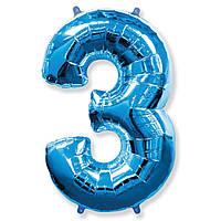 """Фольгована кулька цифра синя """"3""""  40""""  Flexmetal"""