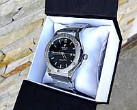 Мужские наручные часы в стиле Hublot серебристые. Наручные кварцевые часы из стали. Годинник чоловічий срібло