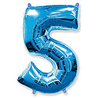 """Фольгована кулька цифра синя """"5""""  40""""  Flexmetal"""