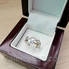 Серебряное женское кольцо с золотом и фианитами