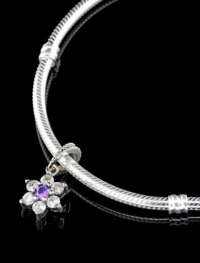 Серебряная подвеска шарм Цветок бусина для браслета Pandora Пандора серебро