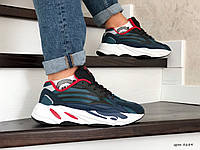 Чоловічі кросівки в стилі  Adidas Yeezy Boost 700  темно сині з чорним