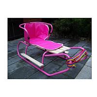 Санки ДЕТСКИЕ  Basic+матрасик+подножки+спинка цвет розовый  ПОЛЬША!!!