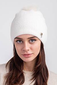 Женская зимняя  шапка  с натуральным меховым помпоном и подкладкой из флиса - Бренда 2019  оптом