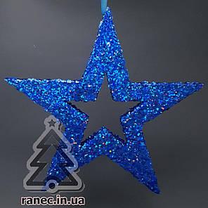 Звезда из пенопласта с присыпкой 34 см Синяя, фото 2