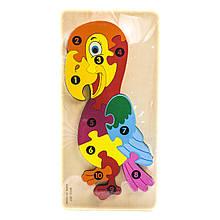 Деревянный объемный пазл Попугай, 10 деталей