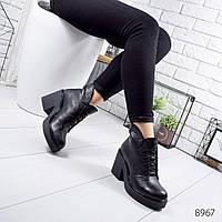 Женские черные зимние ботинки из натуральной кожи  на шнуровке с молнией по канту на каблуке 37 р