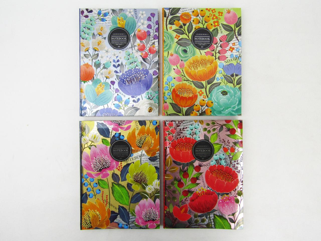 """Блокнот """"Цветы"""", интегральная обложка, металл+лак, А5, 80 листов, клетка, БК64 / 2"""