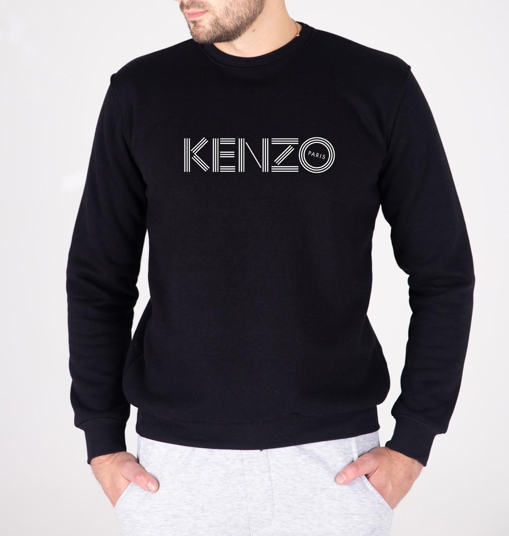 Мужской утепленный свитшот черный Кензо (копия)