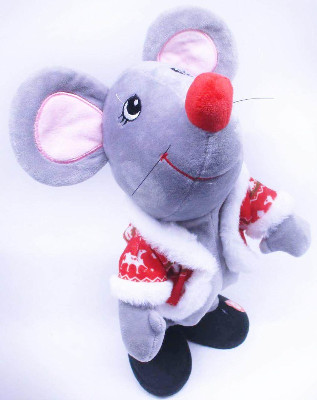 """Іграшка музична """"Мишка"""", у новорічній одязі, рухається, 3971"""