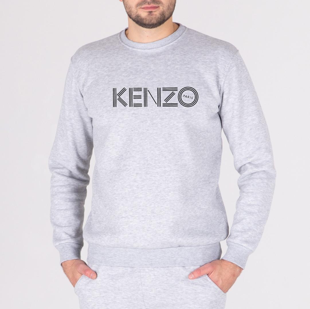 Мужской утепленный свитшот серый Keнзо (копия)