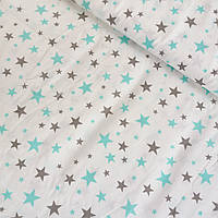 Сатин с серыми и мятными звездами на белом фоне, ширина 160 см