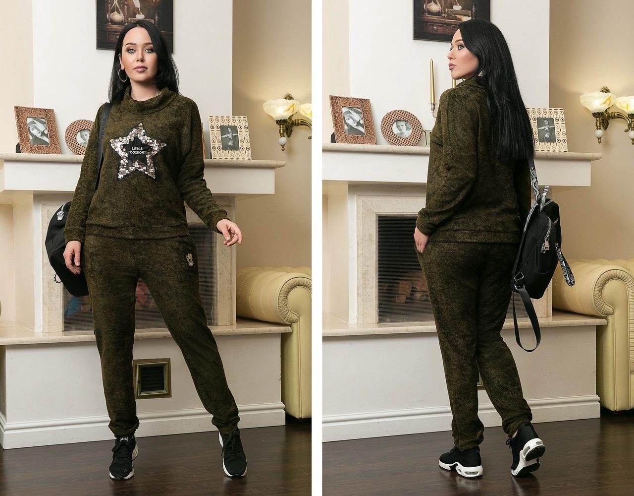 "Стильный женский костюм Кофта+Брюки с кармашками ткань ""ХБ-букле"" 58, 60, 62  размер батал"