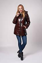 Женская молодежная зимняя куртка. Код модели К-150-71-20. Цвет шоколад.