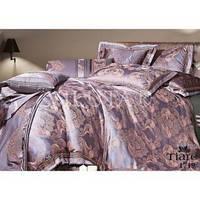 Семейный комплект постельного белья из сатина жаккард в сиреневом цвете