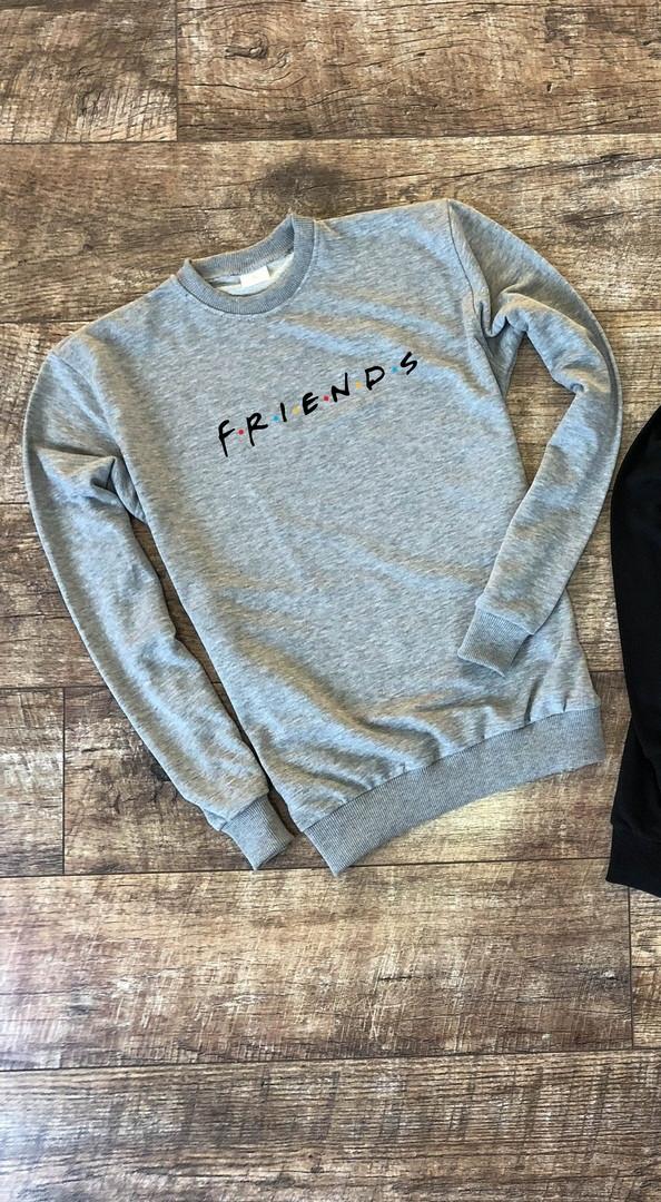 Мужской утепленный свитшот серый Friends