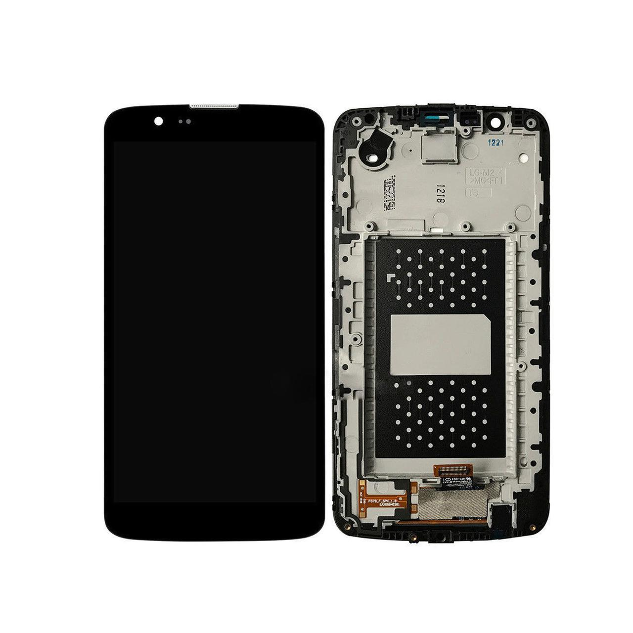 Дисплей (экран) для LG K430TV K10TV с сенсором (тачскрином) и рамкой с микросхемой черный Оригинал