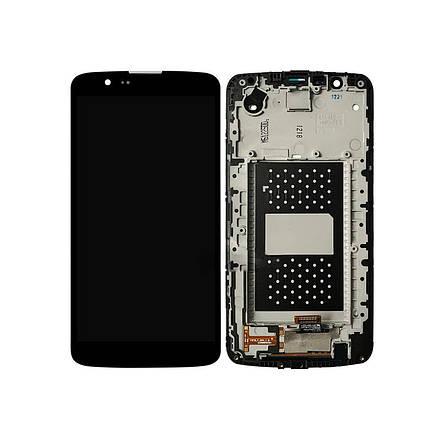 Дисплей (экран) для LG K430TV K10TV с сенсором (тачскрином) и рамкой с микросхемой черный Оригинал, фото 2