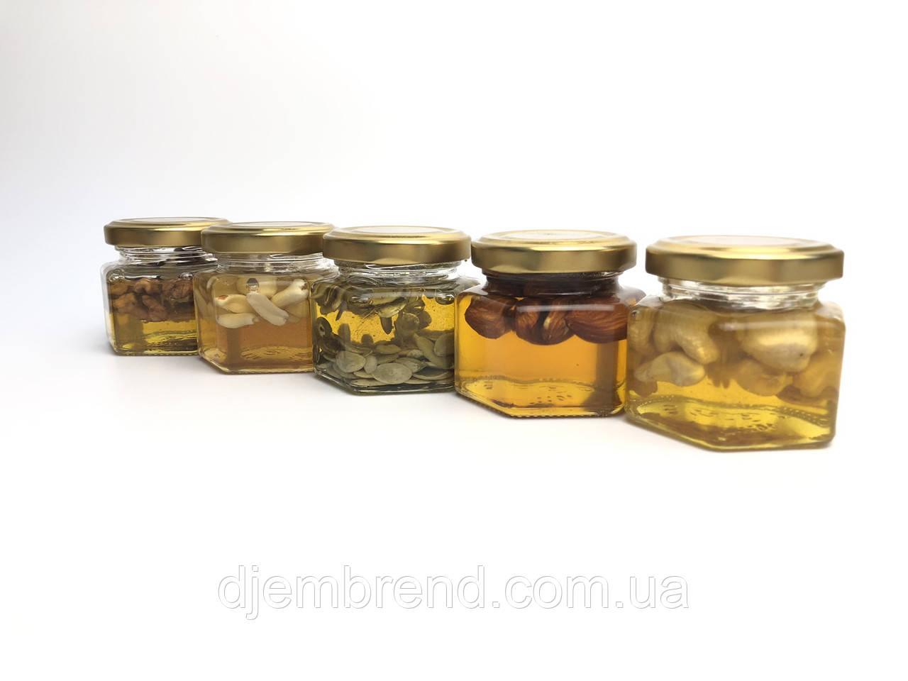 Мед с орехами в подарочной баночке