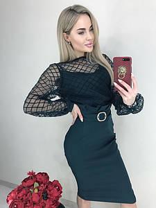 Нарядный женский костюм юбка и блуза сетка